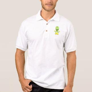 Camisa Polo verde amarelo do crânio da boliche e do pino da
