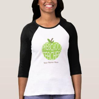 Camisa pré-escolar do professor - Apple verde T-shirt
