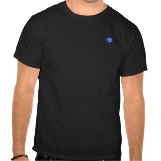 camisa preta de t com logotipo do olho de peixes camiseta