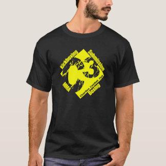 Camisa preta e amarela de C3 do logotipo T T
