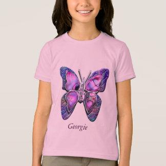 Camisa roxa da faísca da borboleta