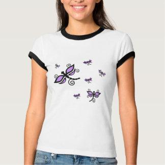 Camisa roxa e preta das libélulas tshirts