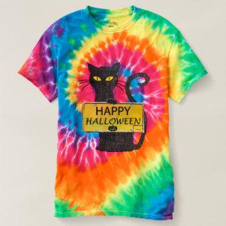 Camisa rústica feliz do sinal do gato preto do Dia