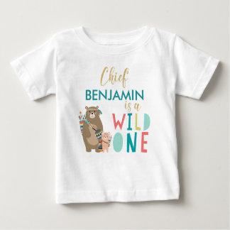 Camisa selvagem do primeiro aniversario do urso