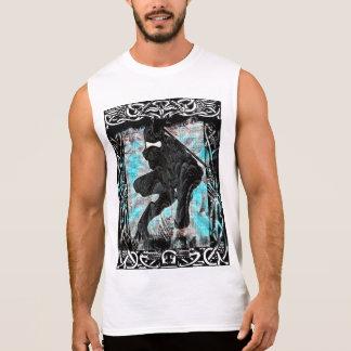 Camisa sem mangas do impressão branco de Ninja