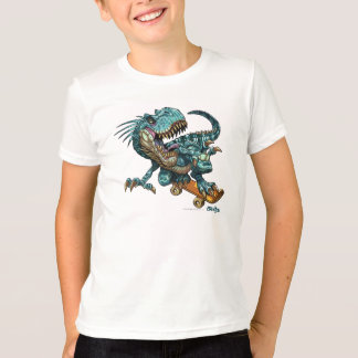 Camisa Skateboarding do dinossauro T
