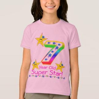 Camisa super da estrela da criança de 7 anos das