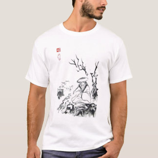 Camisa unisex Meditating dos homens T do samurai