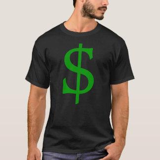 Camisa verde do dinheiro do sinal de dólar