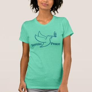 Camisa verde frente e verso do pássaro da paz das