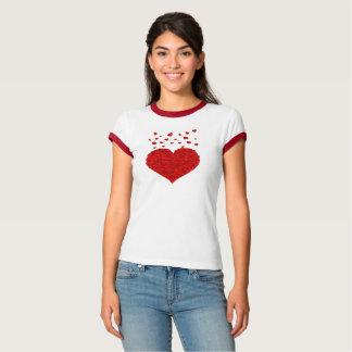 Camisa vermelha do dia dos namorados dos corações