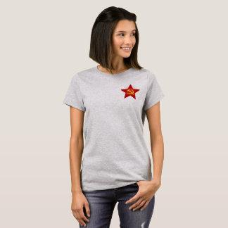 Camisa vermelha do soviete da estrela da senhora