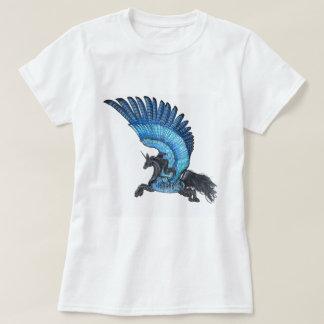 Camisa voada azul do unicórnio sem a beira
