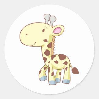 Camisas bonitos do girafa do bebê dos desenhos ani adesivos em formato redondos
