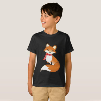 Camisas do miúdo T do Fox Hane vermelho do lenço