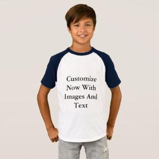 Camisas do Raglan - menino curto da luva