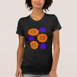 Camisas retros do design alaranjado azul floral t
