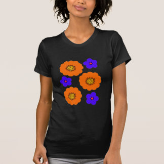 Camisas retros do design alaranjado azul floral t t-shirts
