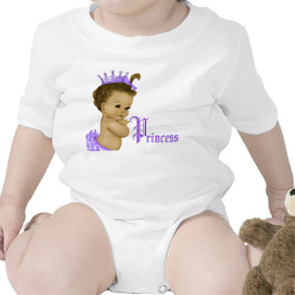 Camisas roxas do bebé da princesa afro-americano babador