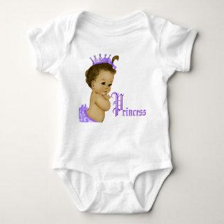Camisas roxas do bebé da princesa afro-americano camisetas