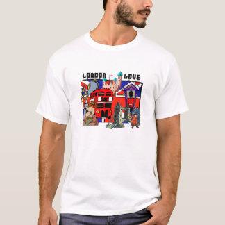 Camisas vermelhas de Union Jack do ônibus do amor