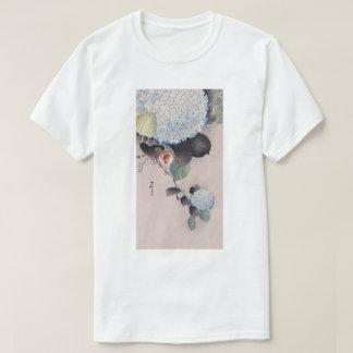 Camiseta アジサイに雀, pardal do 小原古邨 no Hydrangea, Ohara Koson
