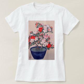 Camiseta ツツジの盆栽, azálea dos bonsais do 小原古邨, Ohara Koson,