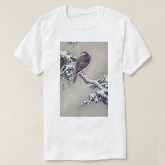 Camiseta 松に鷹, falcão do 古邨 no pinheiro, Ohara Koson,