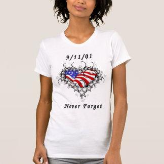 Camiseta 09/11/01 nunca esqueça o t-shirt patriótico