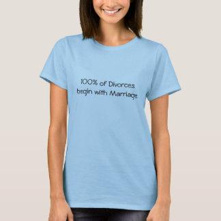 Camiseta 100% dos divórcios começam com o casamento