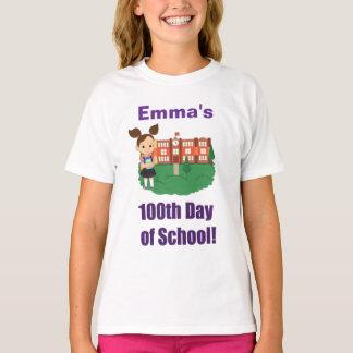 Camiseta 100th dia personalizado da escola, menina,