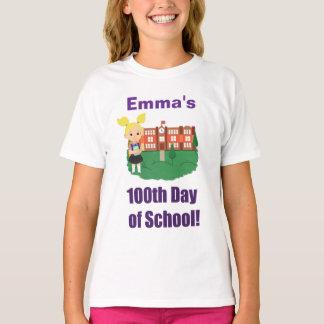 Camiseta 100th dia personalizado da escola, menina, louro