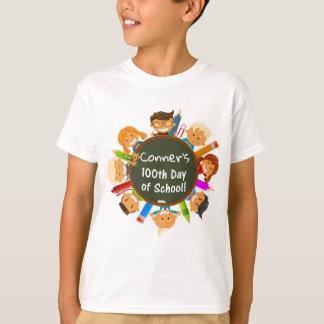 Camiseta 100th dia personalizado do quadro da escola