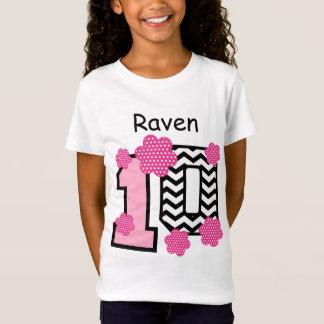 Camiseta 10o Nome feito sob encomenda V03 das bolinhas das