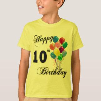 Camiseta 10o t-shirt feliz do aniversário