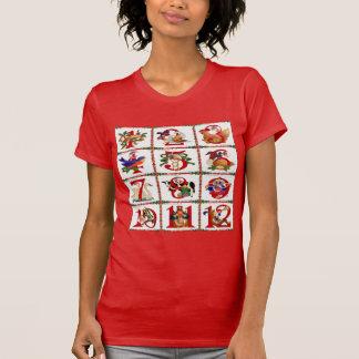 Camiseta 12 dias de presentes do impressão da edredão do