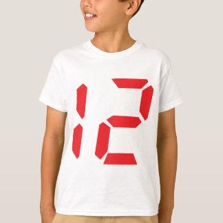 Camiseta 12 número digital do despertador de doze vermelhos