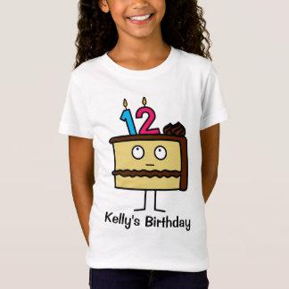 Camiseta 12o Bolo de aniversário com velas