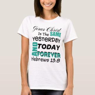 Camiseta 13:8 g1 dos hebraicos do verso da bíblia do