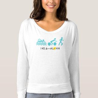 Camiseta 140,6 Com Aloha o Tshirt longo da luva de Flowy
