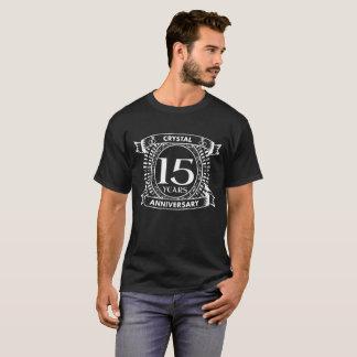 Camiseta 15o aniversário de casamento preto e branco