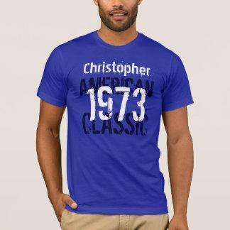 Camiseta 1973 branco azul conhecido feito sob encomenda