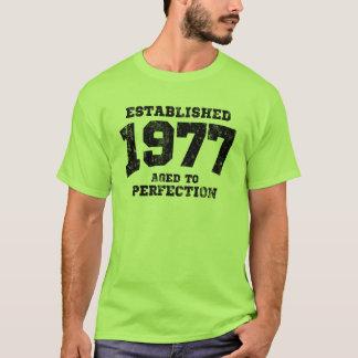 Camiseta 1977 estabelecidos envelhecidos à perfeição