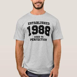 Camiseta 1988 estabelecidos envelhecidos à perfeição