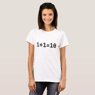 Camiseta 1+Binário 1=10 para o computador do engenheiro do