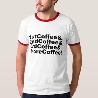 Camiseta 1stCoffee&2ndCoffee&3rdCoffee&MoreCoffee! (preto)