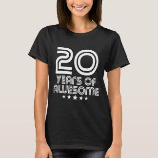Camiseta 20 anos de 20o aniversário impressionante