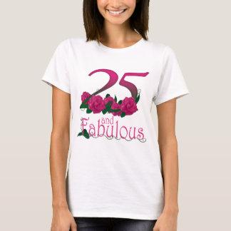 Camiseta 25 e 25o t-shirt fabuloso do aniversário
