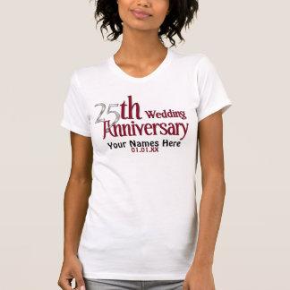 Camiseta 25o Prata e aniversário de Borgonha