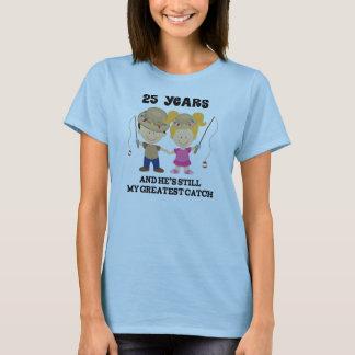 Camiseta 25o Presente do aniversário de casamento para ela